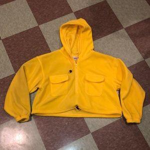 UO yellow cropped fleece hoody Lg sweatshirt